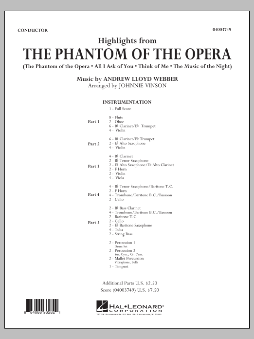 Highlights from The Phantom of the Opera (COMPLETE) sheet music for concert band by Johnnie Vinson and Andrew Lloyd Webber. Score Image Preview.