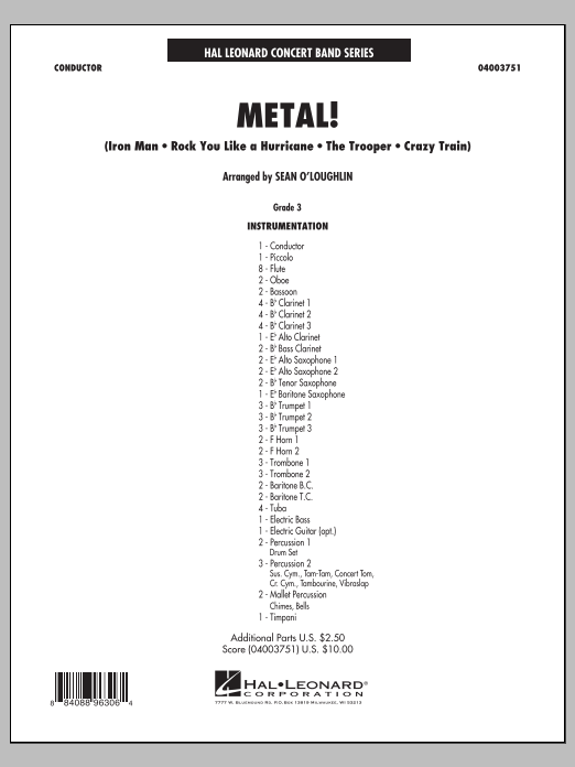 Metal! (COMPLETE) sheet music for concert band by Sean O'Loughlin. Score Image Preview.