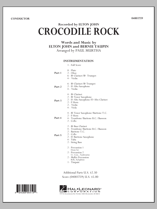 Crocodile Rock (COMPLETE) sheet music for concert band by Elton John and Paul Murtha. Score Image Preview.