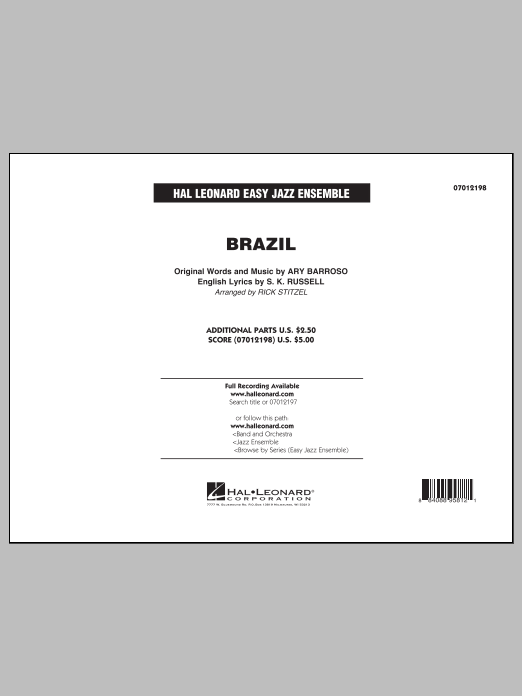 Brazil (COMPLETE) sheet music for jazz band by Rick Stitzel, Ary Barroso and The Ritchie Family. Score Image Preview.