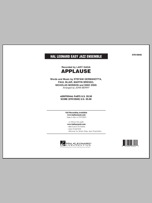 Applause (COMPLETE) sheet music for jazz band by John Berry and Lady Gaga. Score Image Preview.