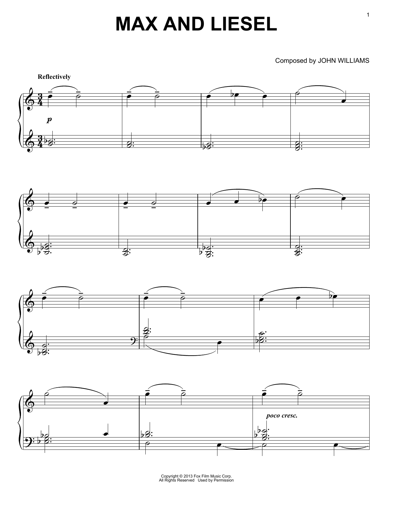 Max And Liesel Sheet Music