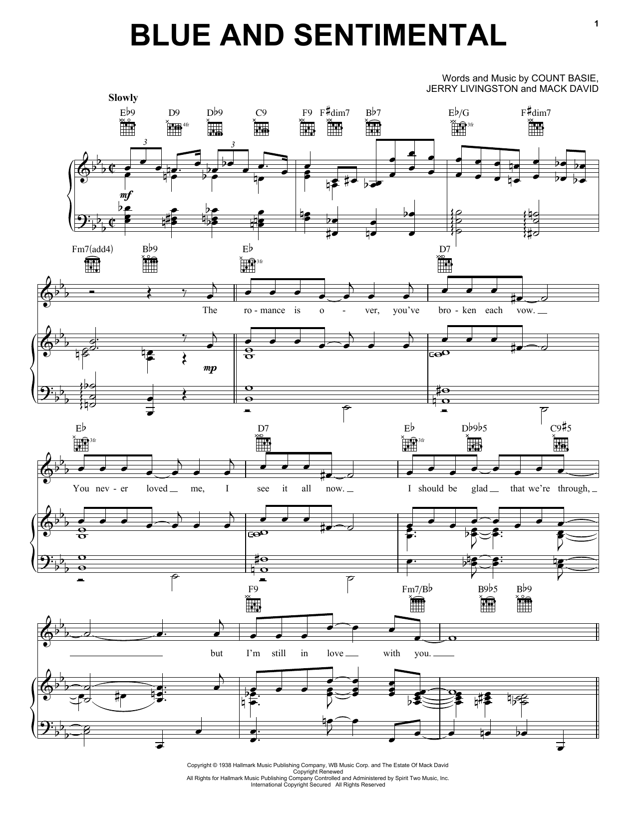Blue And Sentimental Sheet Music