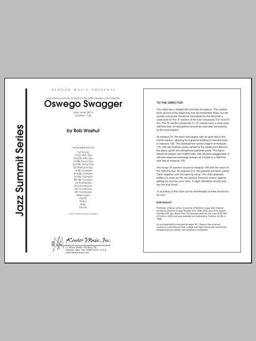 Oswego Swagger (COMPLETE) sheet music for jazz band by Washut. Score Image Preview.