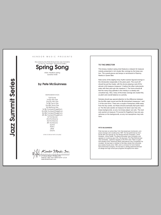 Spring Song (COMPLETE) sheet music for jazz band by McGuinness. Score Image Preview.
