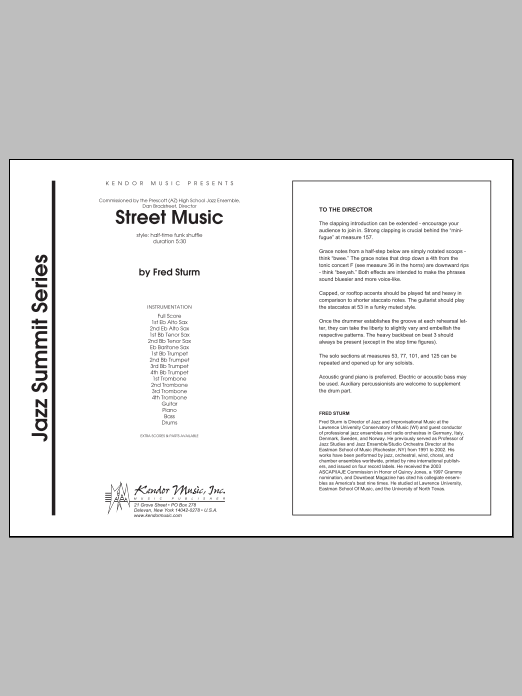 Street Music (COMPLETE) sheet music for jazz band by Sturm. Score Image Preview.