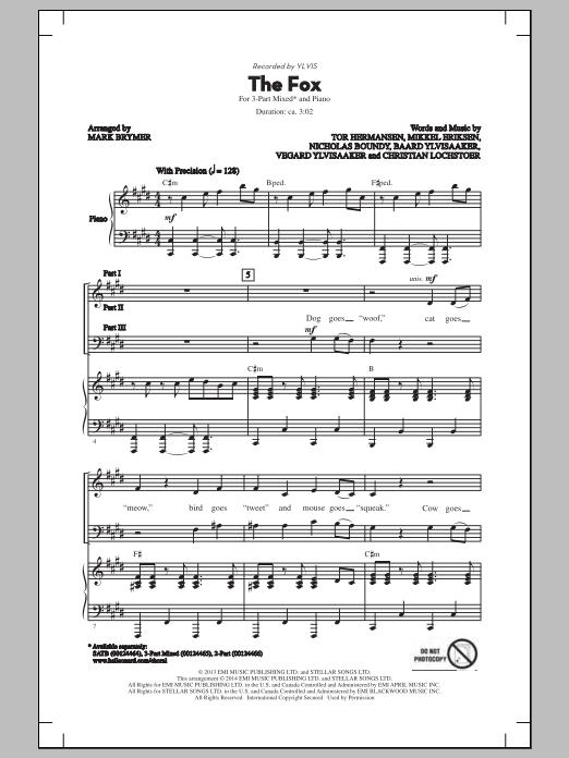 Partition chorale The Fox de Ylvis - 3 voix mixtes