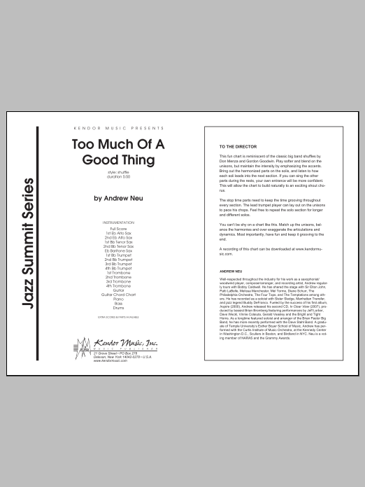 Too Much of a Good Thing (COMPLETE) sheet music for jazz band by Neu. Score Image Preview.