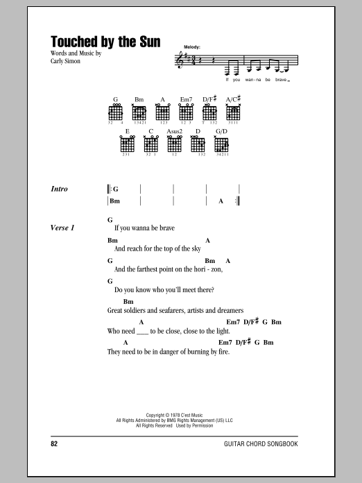 Touched By The Sun Sheet Music By Carly Simon Lyrics Chords 153178