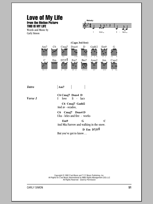 Love Of My Life Sheet Music