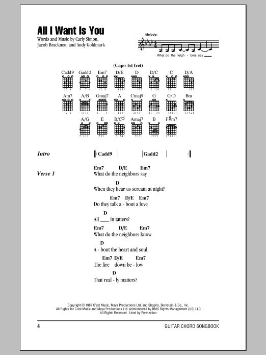 All I Want Is You Sheet Music Direct
