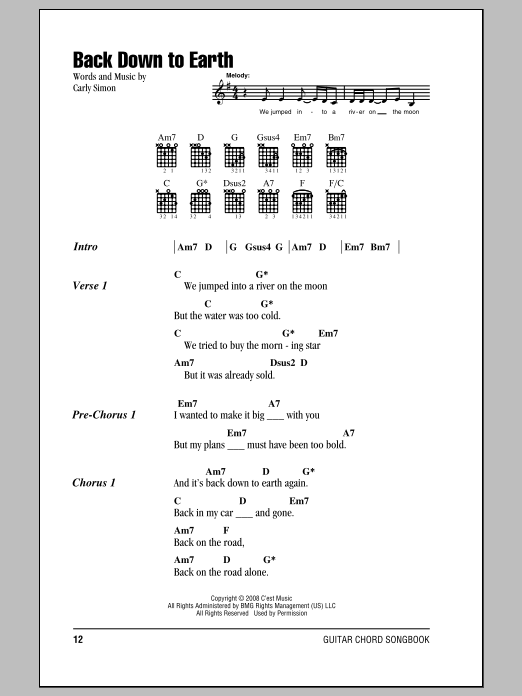 Back Down To Earth by Carly Simon - Guitar Chords/Lyrics - Guitar ...