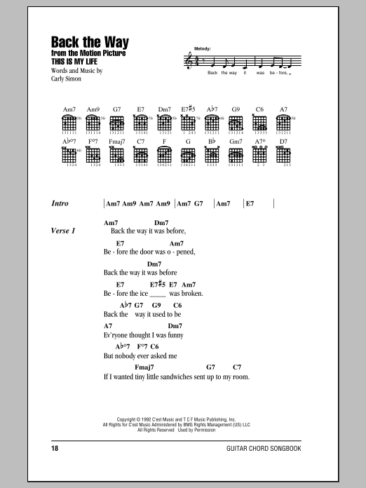 Back The Way Sheet Music