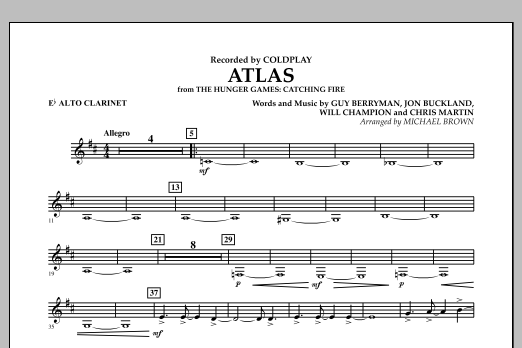Atlas (from The Hunger Games: Catching Fire) - Eb Alto Clarinet (Concert Band)
