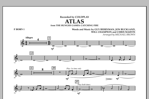 Atlas (from The Hunger Games: Catching Fire) - F Horn 1 (Concert Band)