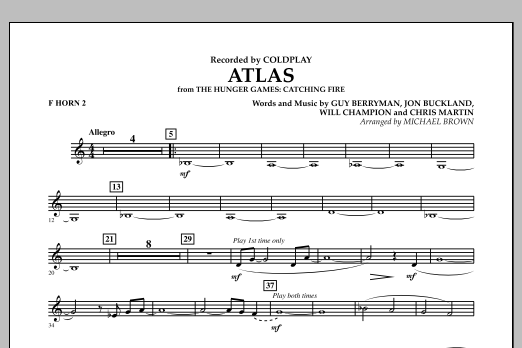 Atlas (from The Hunger Games: Catching Fire) - F Horn 2 (Concert Band)