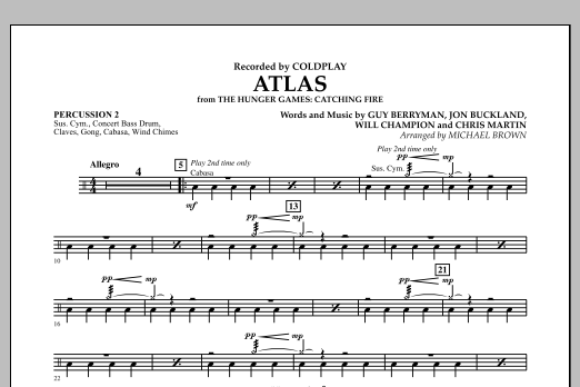 Atlas (from The Hunger Games: Catching Fire) - Percussion 2 (Concert Band)
