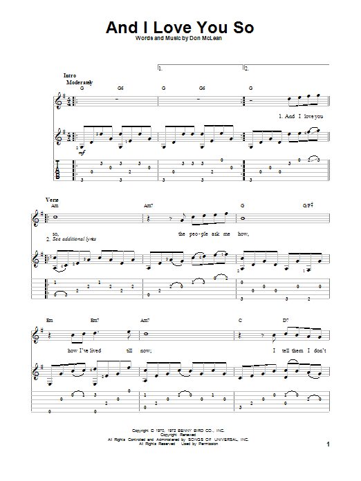 Tablature guitare And I Love You So de Don McLean - Tablature Guitare