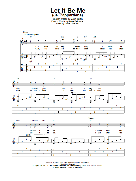 Let It Be Me (Je Tu0026#39;appartiens) Guitar Tab by Everly Brothers (Guitar Tab u2013 152934)