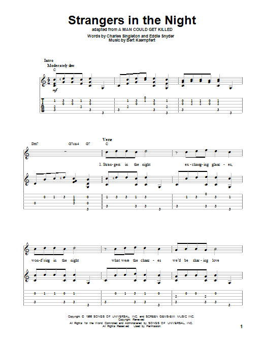Tablature guitare Strangers In The Night de Frank Sinatra - Tablature Guitare