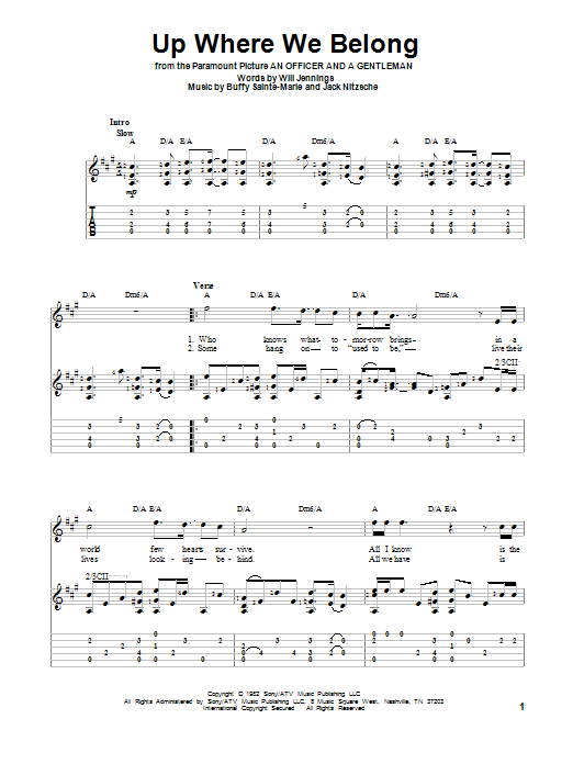Tablature guitare Up Where We Belong de Joe Cocker & Jennifer Warnes - Tablature Guitare