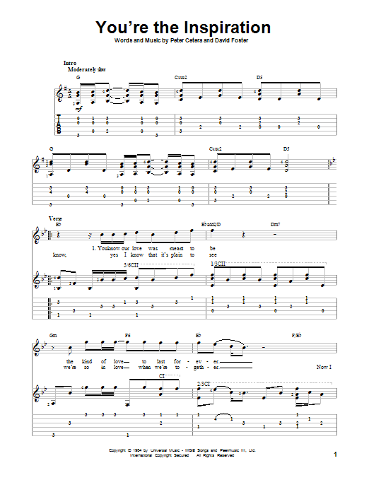 You're The Inspiration (Guitar Tab)