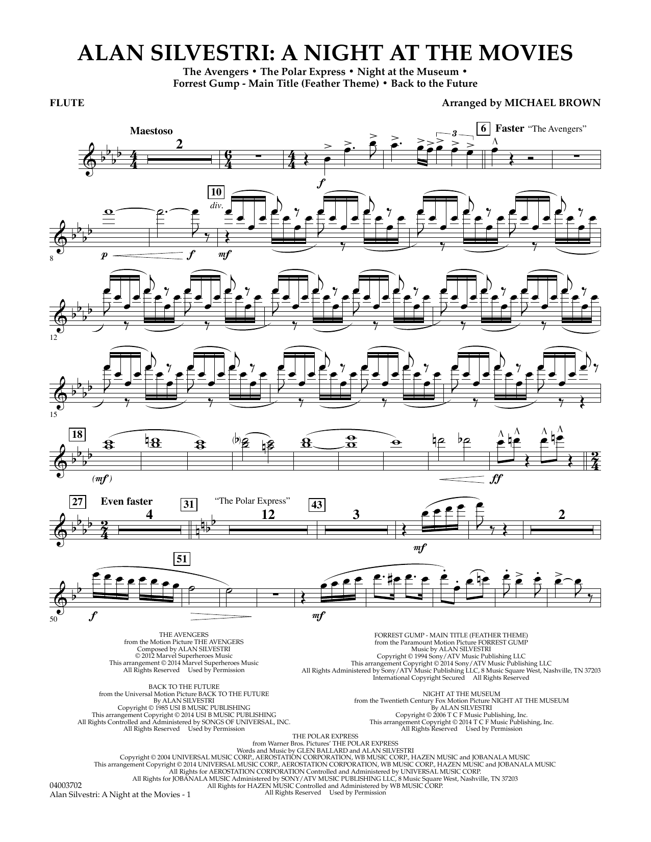 Alan Silvestri: A Night at the Movies - Flute (Concert Band)
