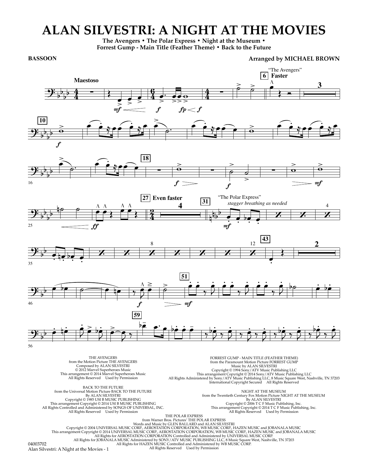 Alan Silvestri: A Night at the Movies - Bassoon (Concert Band)