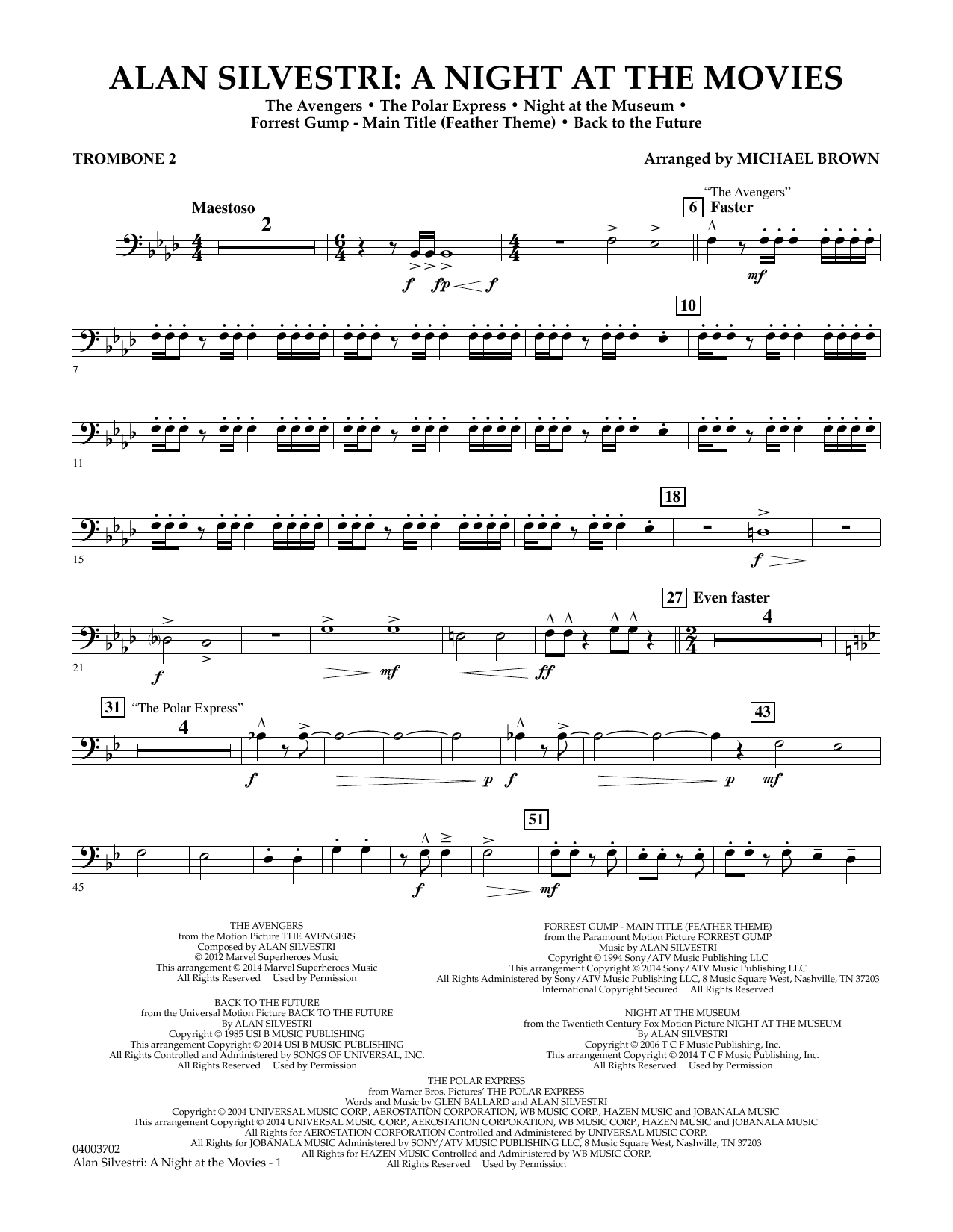 Alan Silvestri: A Night at the Movies - Trombone 2 (Concert Band)