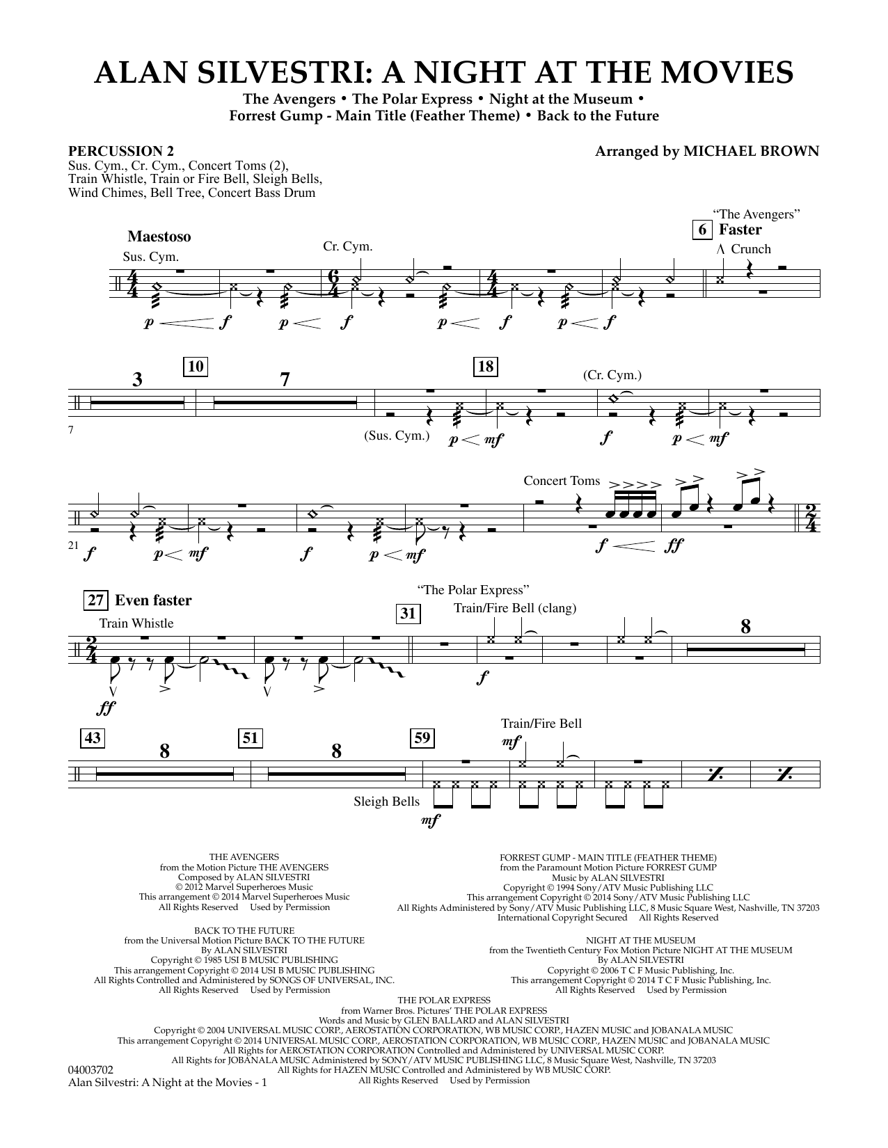 Alan Silvestri: A Night at the Movies - Percussion 2 (Concert Band)