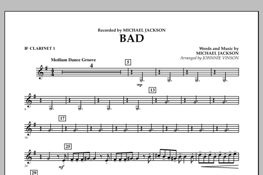 Bad - Bb Clarinet 1 (Concert Band)