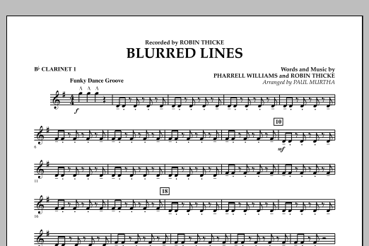 Blurred Lines - Bb Clarinet 1 (Concert Band)