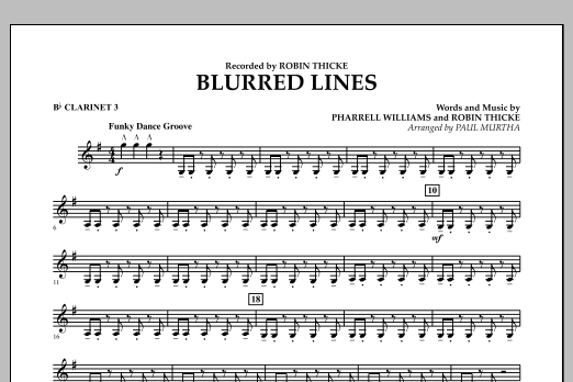 Blurred Lines - Bb Clarinet 3 (Concert Band)