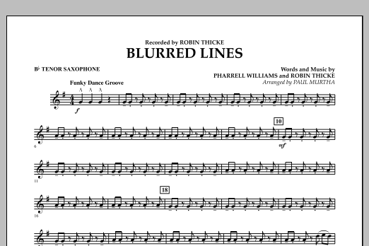 Blurred Lines - Bb Tenor Saxophone (Concert Band)