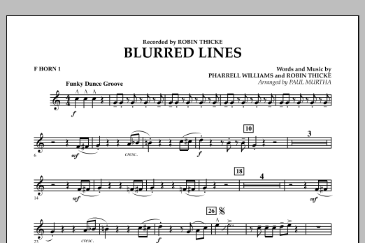 Blurred Lines - F Horn 1 (Concert Band)