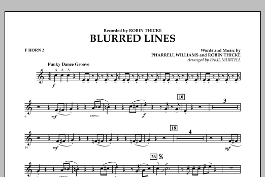 Blurred Lines - F Horn 2 (Concert Band)