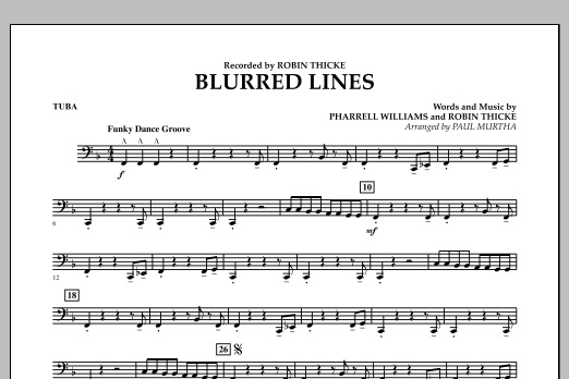 Blurred Lines - Tuba (Concert Band)