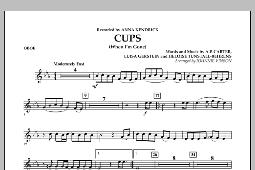 Cups (When I'm Gone) - Oboe (Concert Band)