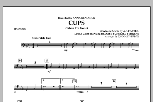Cups (When I'm Gone) - Bassoon (Concert Band)