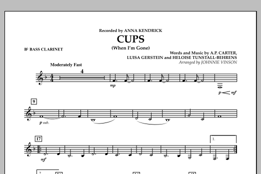 Cups (When I'm Gone) - Bb Bass Clarinet (Concert Band)