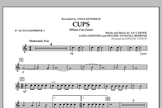Cups (When I'm Gone) - Eb Alto Saxophone 1 (Concert Band)