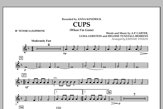 Cups (When I'm Gone) - Bb Tenor Saxophone (Concert Band)