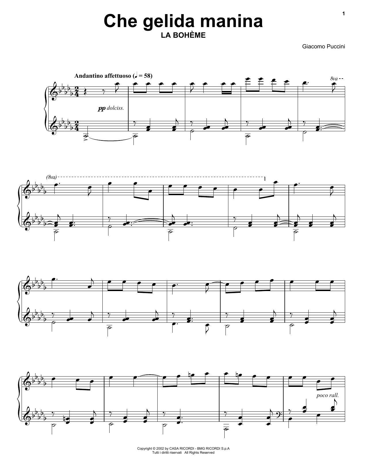 Che gelida manina from La Bohème Sheet Music