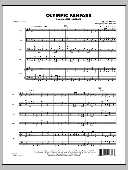 Olympic Fanfare (Bugler's Dream) (COMPLETE) sheet music for orchestra by Paul Lavender and Leo Arnaud. Score Image Preview.