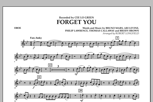 Forget You - Oboe (Concert Band)