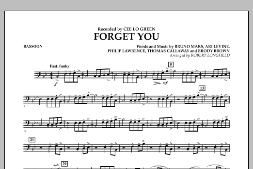 Forget You - Bassoon (Concert Band)