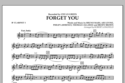 Forget You - Bb Clarinet 1 (Concert Band)