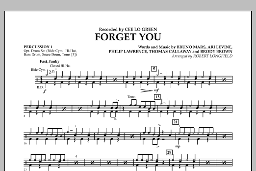 Forget You - Percussion 1 (Concert Band)