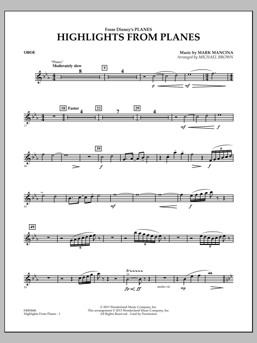 """Highlights from """"Planes"""" - Oboe (Concert Band)"""
