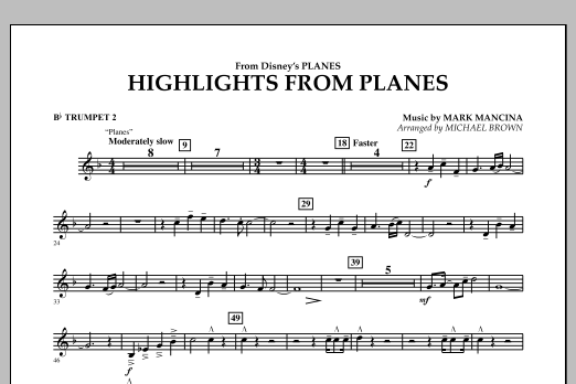 """Highlights from """"Planes"""" - Bb Trumpet 2 (Concert Band)"""